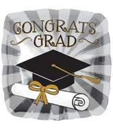 "18"" Touch of Gold Grad Balloon"
