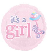 "18"" It&#39s A Girl Pink Icons Balloon"