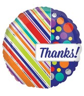 "18"" Thanks Diagonals and Dots Balloon"
