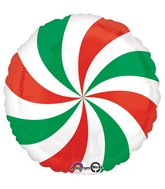 "18"" Red & Green Swirl Balloon"