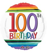 "18"" Rainbow Birthday 100th Balloon"