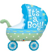 "35"" Shape Packaged It's A Boy Baby Stroller"