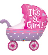 "35"" Shape Packaged It's A Girl Baby Stroller"