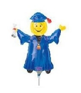 Airfill Only Mini Shape Smiley Grad Blue Balloon