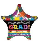 "28"" Jumbo Congratulations Grad Stars & Stripes Balloon"