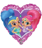 "18"" Shimmer and Shine Heart Balloon Packaged"