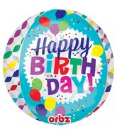 "16"" Orbz Jumbo Happy Birthday Streamer Burst Foil Balloon"