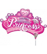 "13"" Airfill Only Princess Crown with Gem Foil Balloon"