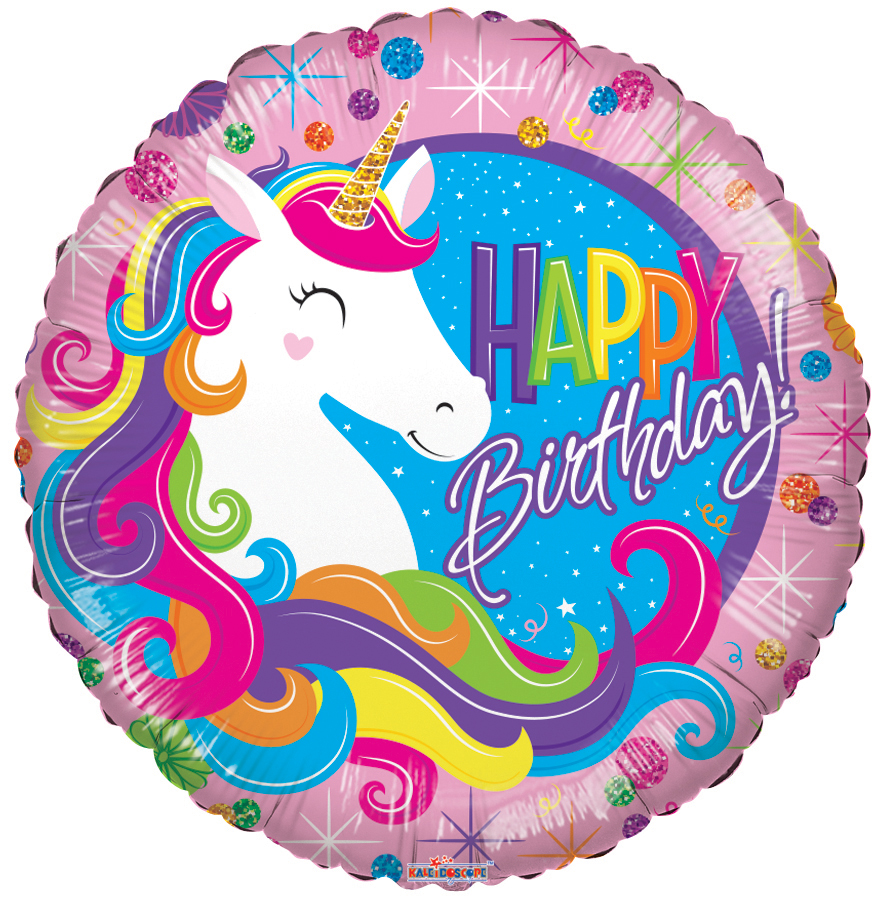 "18"" Birthday Classic Unicorn Round Foil Balloon"