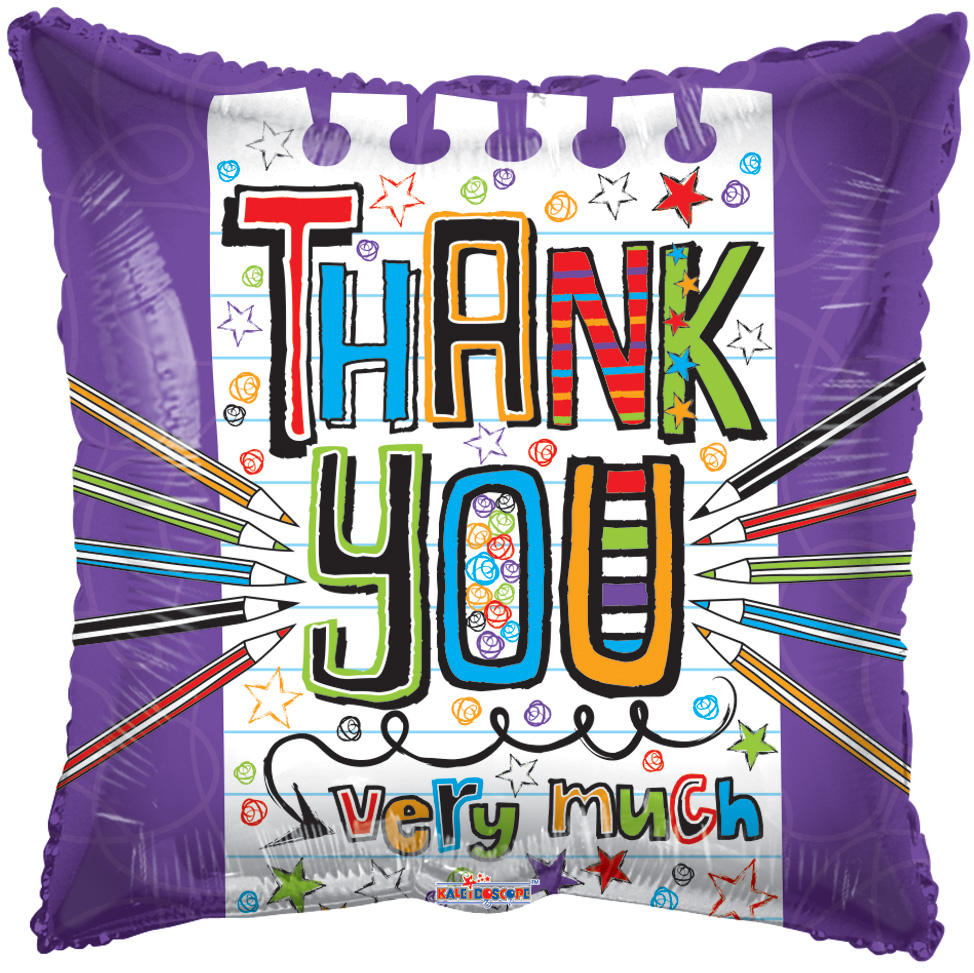 "18"" Thank You Very Much Square Foil Balloon"