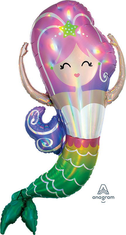 "32"" Iridescent Mermaid Holographic Foil Balloon"