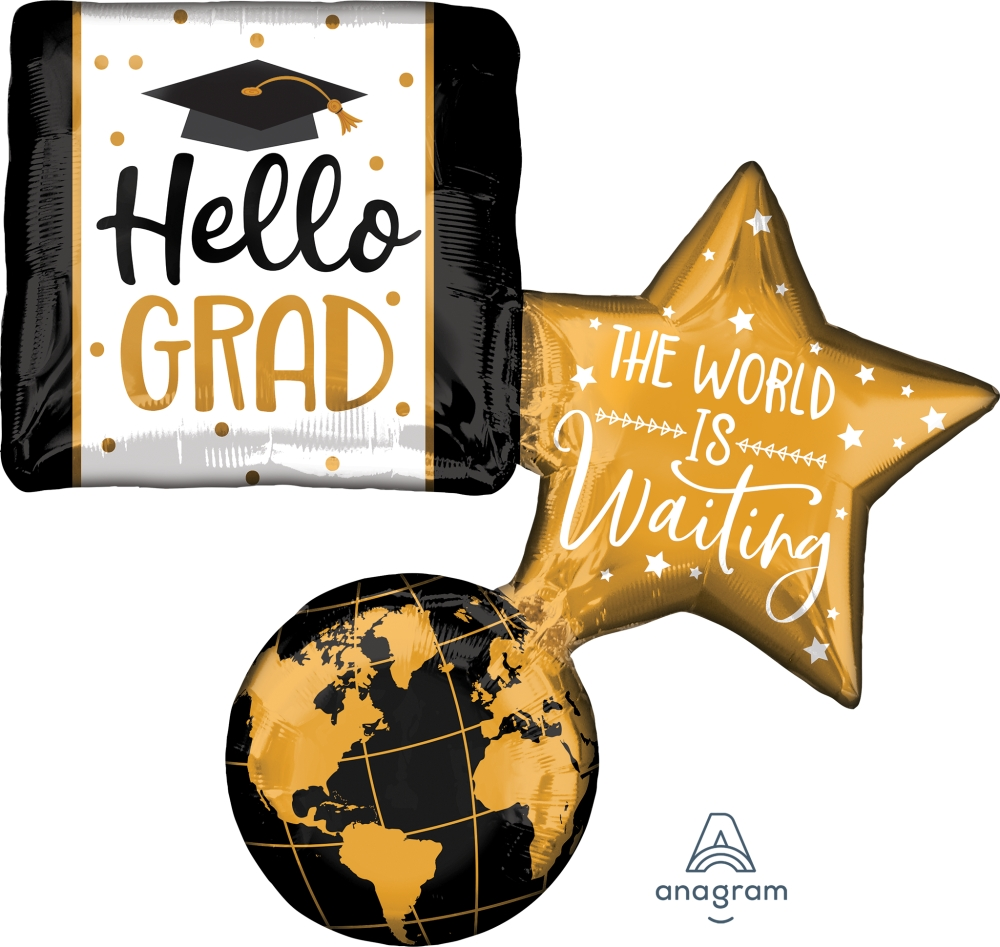 "34"" The World is Waiting Grad Foil Balloon"