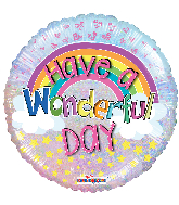 "18"" Have A Wonderful Day Holographic Round Foil Balloon"