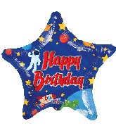 "18"" Happy Birthday Space Star Foil Balloon"