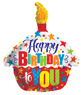 "18"" Happy Birthday To You Cupcake Foil Balloon"
