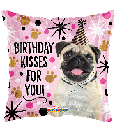"18"" Birthday Kisses For You! Square Foil Balloon"