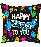 "9"" Birthday Balloons And Banner Square Foil Balloon"