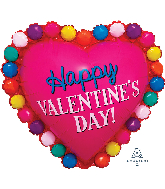 "29"" ColorBlast Happy Valentines Day Dotted Heart Balloon"