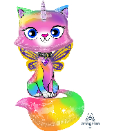 "44"" Rainbow Butterfly Unicorn Kitty AirWalkers® Foil Balloon"