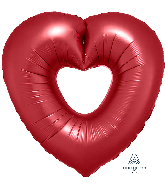 "26"" Sangria Open Heart SuperShape Foil Balloon"