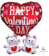 "26"" Happy Valentine&#39s Day Floating Bears Foil Balloon"