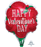 "18"" Happy Valentine's Day Red Roses Foil Balloon"