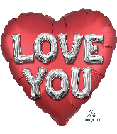 "28"" Satin Love You Letters Jumbo Shape Foil Balloon"