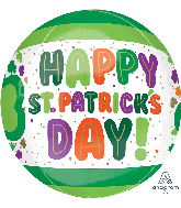 "16"" St. Patrick's Day Dots & Shamrocks Orbz Foil Balloon"