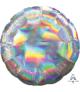 "18"" Iridescent Silver Circle Foil Balloon"