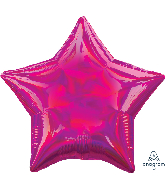 "18"" Iridescent Magenta Star Foil Balloon"