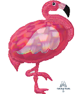 "33"" Iridescent Pink Flamingo Holographic Foil Balloon"