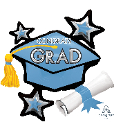 "31"" Congrats Grad Light Blue Cluster Foil Balloon"
