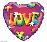 "18"" Love Psychedelic Daisies Mylar Balloon"