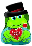 "22"" I Love You Rose In Mouth Frog Foil Balloon"