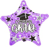 "18"" Grad Star Purple Foil Balloon"