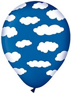 "12"" Midnight Blue with Clouds Latex Balloons 50 Count"
