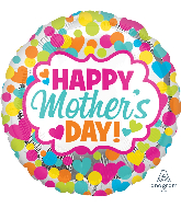"28"" Jumbo Happy Mother's Day Dots & Hearts Balloon"