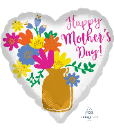 "28"" Happy Mother's Day Gold Vase Foil Balloon"