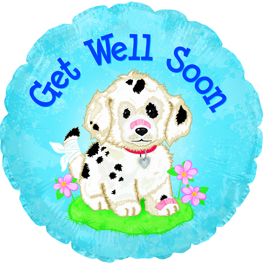 "17"" Get Well Soon Doggie Foil Balloon"