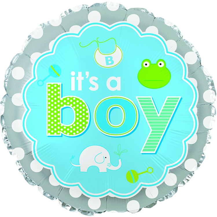 "17"" It's A Boy Baby Icons Balloon"