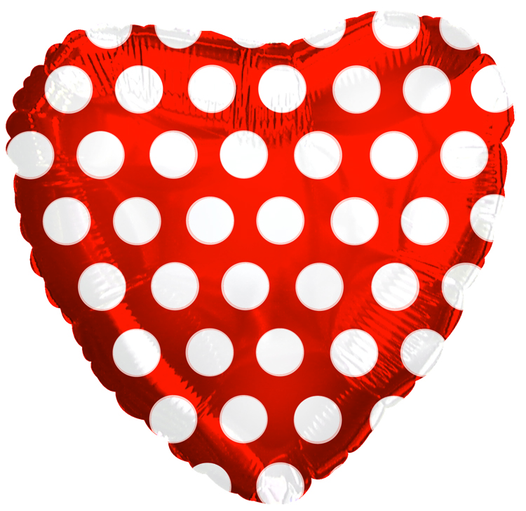"18"" Red White Polka Dots Heart Balloon"