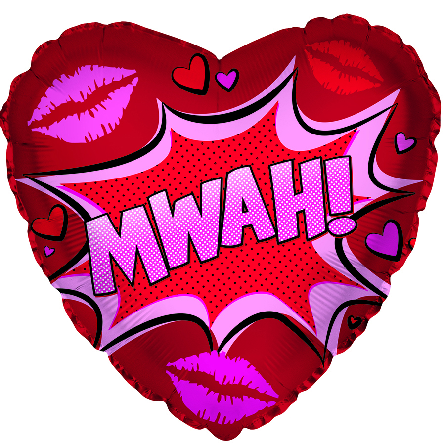"17"" Mwah! Valentine's Day Graphic Foil Balloon"