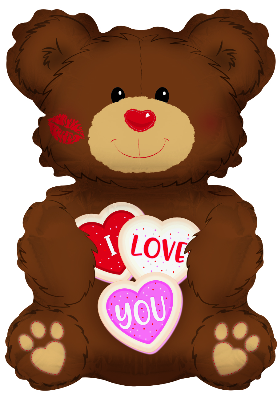 "36"" I Love You Cookie Bear Foil Balloon"