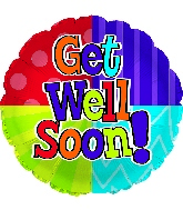 "17"" Get Well Soon Dots & Stripes Foil Balloon"