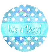 "18"" It`s a Boy Dots Mylar Balloon"