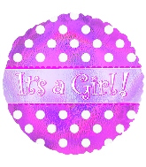 "18"" It's a Girl Holographic Dots Mylar Balloon"