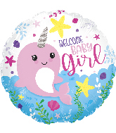 "18"" Baby Girl Narwhal Foil Balloon"