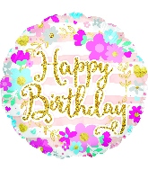 "18"" Happy Birthday Glitter Font Foil Balloon"
