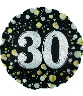 "17"" Number 30 Silver Sparkles Foil Balloon"