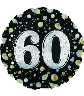 "17"" Number 60 Silver Sparkles Foil Balloon"